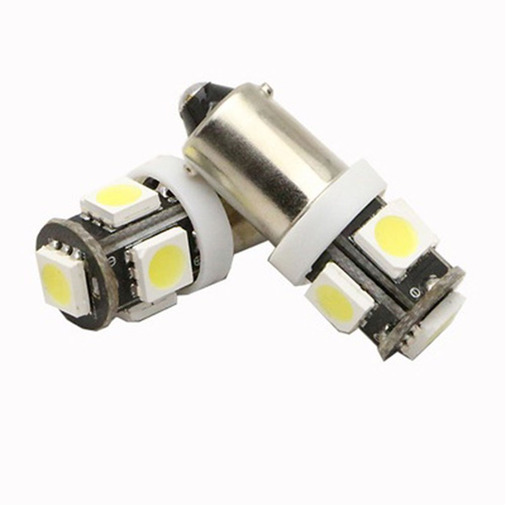 Diameter 9mm 10-Pack BA9S 12146 BA9 53 57 1895 64111 White 12V LED Light 7020 10SMD Car Interior Replacement Bulb for Map Dome Courtesy Trunk License Plate Side Marker Light