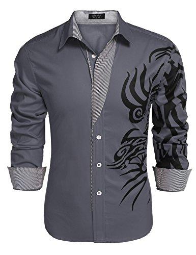 (JINIDU Men's Solid Point Collar Print Button Down Shirt)
