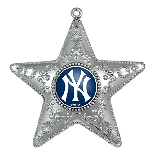 MLB New York Yankees Silver Star Ornament, Small, Silver Ny Yankees Ornaments