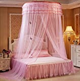 RuiHome Elegant Round Lace Canopy Princess Girls Mosquito Net for Bed Twin Full Queen Home Decor, Pink