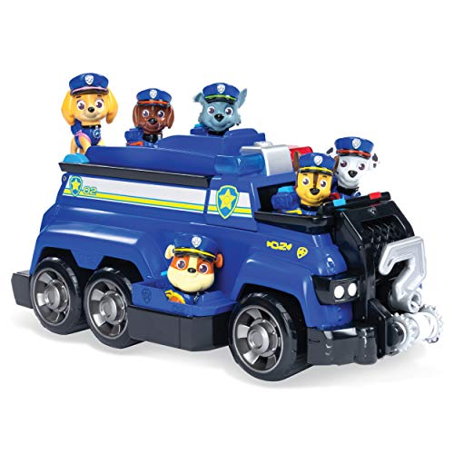 Paw Patrol Pup (Paw Patrol, Chase's Total Team Rescue Police Cruiser Vehicle with 6 Pups, For Kids Aged 3 &)
