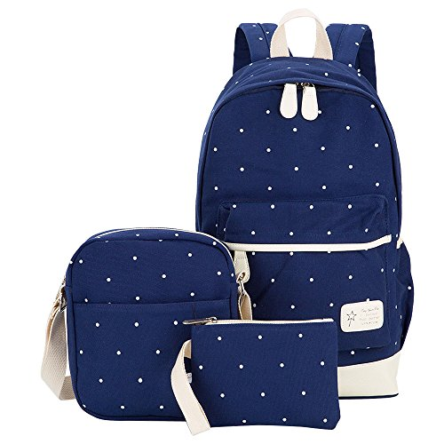 Hotrose 3x Girl School Bags Travel Canvas Rucksack Backpack School Shoulder Bag Cross body Messenger Bag Blue