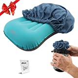 Inflatable Camp Pillow with Cotton Pillowcase Set – Camping, Travelling and Hiking Blow Up Pillow with Soft, Hypoallergenic Cover – Also Suitable as Cervical or Lumbar Support and Backrest by Ope Plus