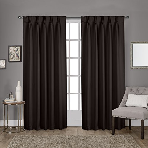 Espresso Drapes (Exclusive Home Curtains Sateen Pinch Pleat Woven Blackout Back Tab Window Curtain Panel Pair, Espresso, 52x84)