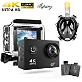 Waterproof Camera, WiFi Action Camera Full HD 4K 1080P 2.0 Inch 170 Degree Wide Angle Lens H.264 Waterproof Camera with Accessories for Riding Diving SkIing DV Recording Black
