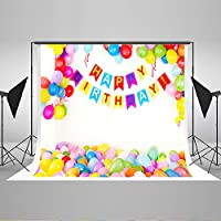 7x5ft Happy Birthday Baby Photo Backdrop White Wall Colorful Balloons Photo Props for Kids JXUS-YY00203-1