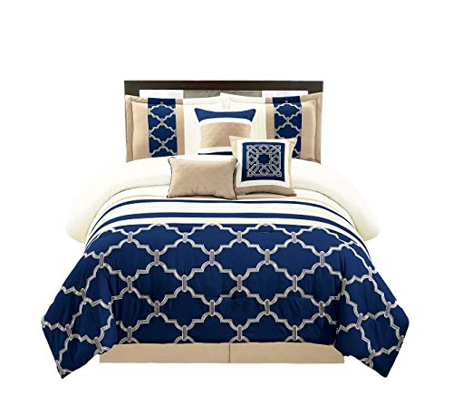 WPM 7 Pieces Complete Bedding Ensemble Navy Blue Taupe Ivory Beige Royal Print Luxury Embroidery Comforter Set Bed-in-a-Bag-Daisy (King) - Morocco Comforter Set