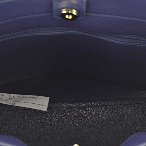 BORSA SHOPPING TWIN-SET ECOPELLE BLU CON FIORI