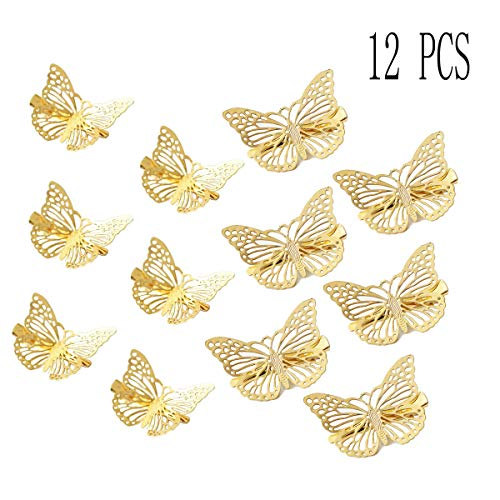 - Bangbuy Butterfly Hair Clips, 12 Pcs Cute Golden Metal Butterfly Hair Claw Clips Accessories for Girls and Women