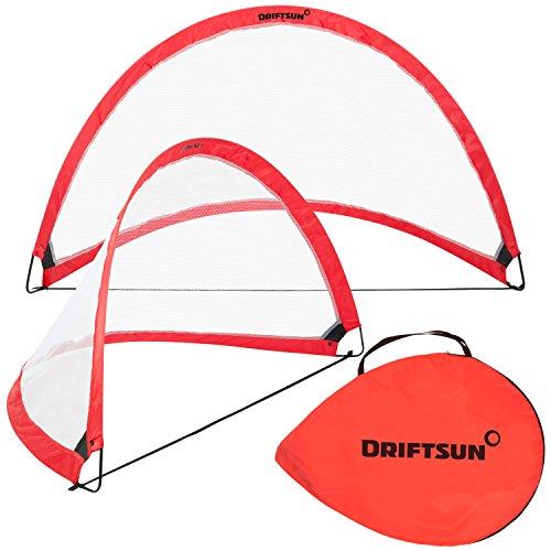 Driftsun Sports Soccer Goal Set Backyard Practice Play - Portable Folding Training Pop Up 6FT Soccer Net Set (2 Soccer Net Goals + Carry Bag) -