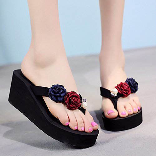 seaside FLYRCX flowers slope sandals foot with a summer high slippers thick fashion in beach Slippery ladies' simple clips bottom rg8Bqw5rxz