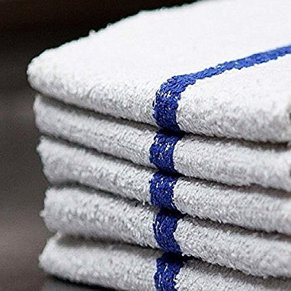 Bar Mop Cleaning Towels (12 Pack, 16 x 19 Inch) - Cotton Terry (Absorbs lot of water), White with Blue Stripe. White Kitchen Towels, Restaurant Cleaning Towels, Shop Towels and Rags By OMNI LINENS