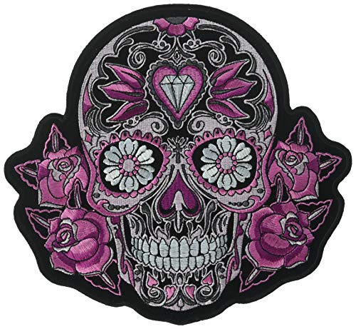 Whisper Sugar - Hot Leathers Pink Sugar Skull and Roses Patch (Multicolor, 8
