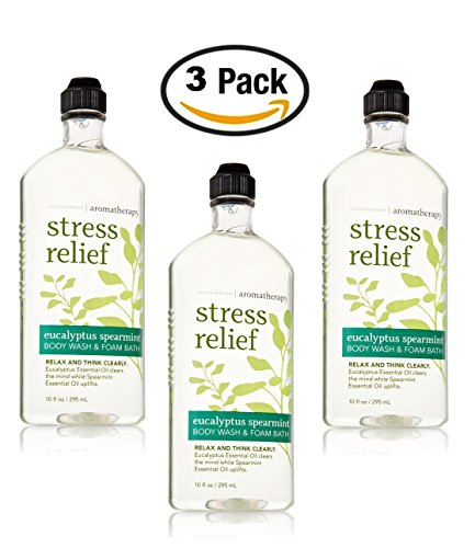 Bath & Body Works Aromatherapy Eucalyptus Spearmint Stress Relief Body Wash & Foam Bath, 10 fl oz per Bottle (3 (Relaxing Shower And Bath Gel)