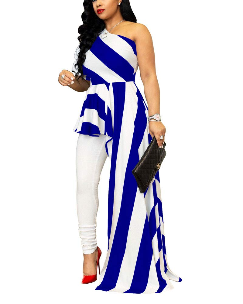 Ophestin Womens High Low Tops Irregular Blouse, Sexy Striped One Shoulder Shirt Maxi Dress