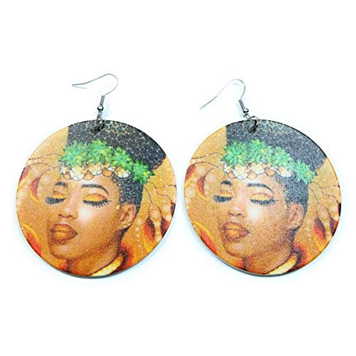 Teri's Boutique Portrait of Beautiful African Turban Fashion Style Women Jewelry Round Dangle Fish Hook Earrings (Green) ()