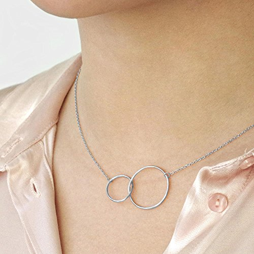 Dear Ava Aunt Necklace: Auntie, Aunt Gift, Aunt Charm, Aunt Jewelry, New Aunt, Best Auntie Ever, My Aunt Loves Me, 2 Interlocking Circles (silver-plated-brass, NA) by Dear Ava (Image #2)