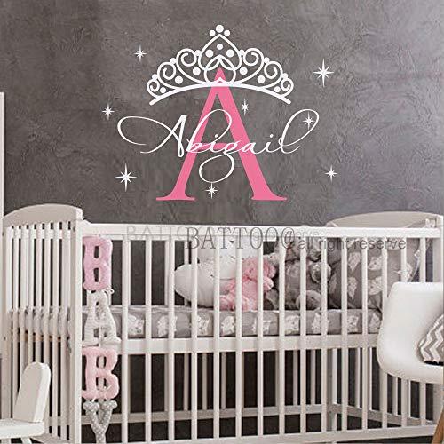 (Personalized Name Wall Decal Girl Princess Crown Vinyl Lettering Decal Sticker Tiara Custom Decals Custom Name Decor Nursery Baby Room Art Plus Free Hello Door Decal, 38