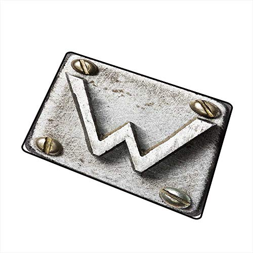 (Household Decorative Floor mat,Uppercase W Bolt Screws Industrial Kitsch Artful Symbolic Person Initials Image 24