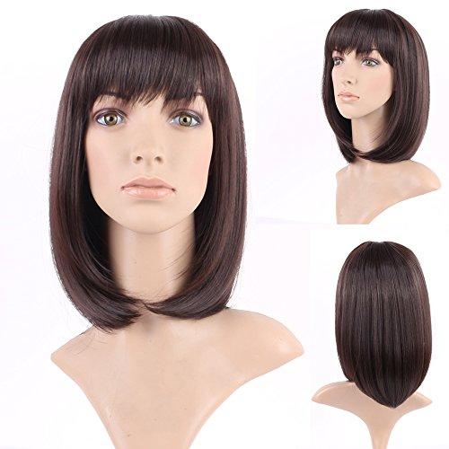 Women's Hair Cosplay Party Wigs Dark Brown Long Curly Bangs Full Wig - 2