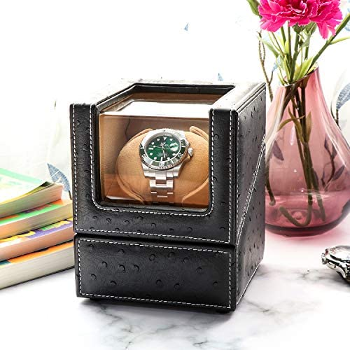 Driklux Automatic Single Watch Winder for Rolex and Other Luxury Watches - Automatic Winder with Quiet Motor, Premium Black Ostrich Leather Exterior and Soft Flexible Watch Pillows of Camel Velvet