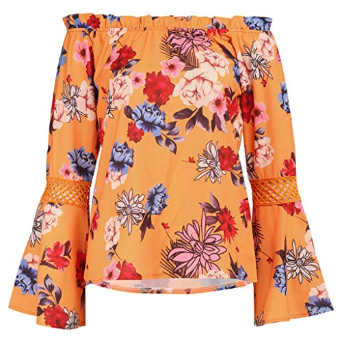 Aunimeifly Women Floral Print Cutout Flare Long Sleeve Tops Elastic Slash Neck Blouse Off Shoulder Vogue Sexy Shirt Orange