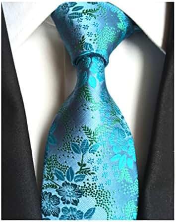 MENDENG Classic Green Blue Paisley Jacquard Woven Silk Men's Tie Party Necktie
