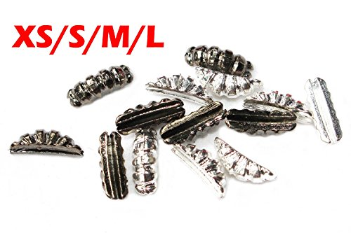 Silver Black Nickel color 24 pcs 4 sizes Ribbed Tungsten Scud Bodies scud Shrimp Back Fly Tying Weight Materials (M, Black)