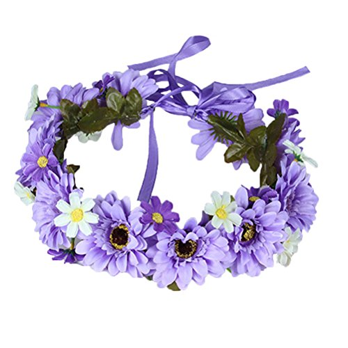 ade Daisy Flower Wreath Headband Crown Halo Floral Hair Garland Headpiece with Ribbon Festival Wedding Purple ()