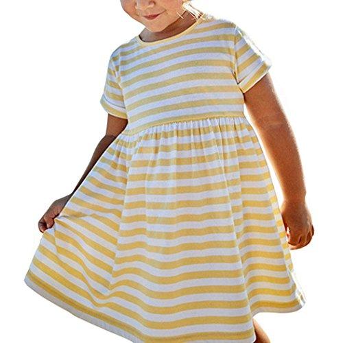 Niña Vestidos, Lananas Bebé Chicas Sommer Manga Corta O-Cuello Raya Impreso Suave Algodón Princesa Amarillo Vestir Girls Dress: Amazon.es: Ropa y ...