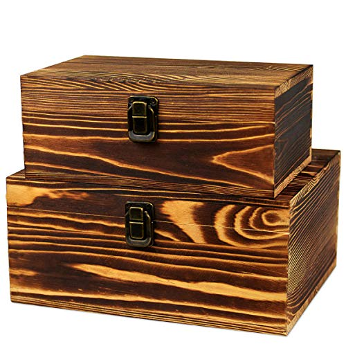 2 Pack Real Wood Box Treasure Chest Memory Hobby Preservation Rustic Decorative Archival Organizer with Latch Lock for Jewelry Keepsake Gadget Trinkets Letter Sewing Cash Tea Photo Wooden Storage Box -