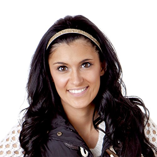 Hipsy 5pk Women's Adjustable NO SLIP Skinny Bling Glitter Headband Multi Gift Pack (Gold/Black/Silver/Brown/White)