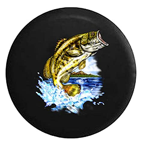 Bass Fish Leaping from the Lake Fishing Spare Tire Cover Black 26-27.5 in - Leaping Fish