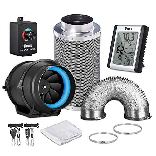 iPower GLFANXEXPSET6D8CHUMD 6 Inch 350 CFM Inline Carbon Filter 8 Feet Ducting with Fan Speed Controller and Temperature Humidity Monitor and Grow Tent Ventilation, 6' Kits, Black