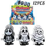 PROLOSO 12 Pack Wind up Toys Walking Skeleton Mummy Hopping Clockwork Playset