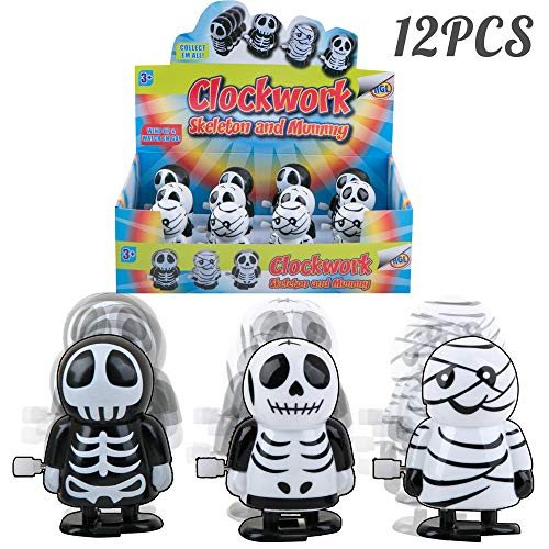 PROLOSO 12 Pack Wind up Toys Walking Skeleton Mummy Hopping Clockwork Playset by PROLOSO