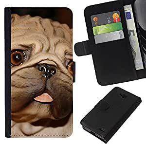 - EYES DOG PUG SMALL BROWN BIG TONGUE - - Prima caja de la PU billetera de cuero con ranuras para tarjetas, efectivo desmontable correa para l Funny House FOR LG OPTIMUS L90