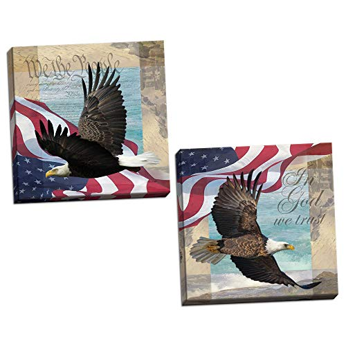 Trust Poster - In God We Trust & We the People; United States of America Patriotic Freedom Posters; Two 12x12in Stretched Canvases; Ready to hang!