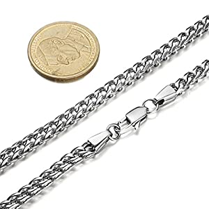 Fibo Steel Mens Curb Chain Necklace Bracelet Set Stainless Steel 5mm in Width High Polished