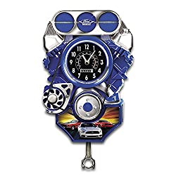 Bradford Exchange Custom Built Ford Muscle Car Wall Clock Lights Up with Motion and Engine Sound