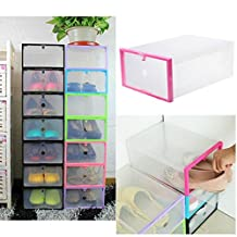 Transparent Plastic Stackable Shoe Box Case Home Storage Container Office Organiser