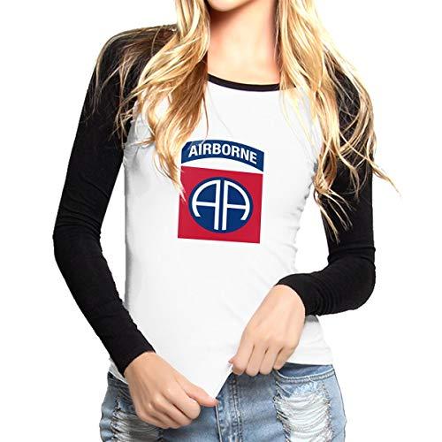 Djhdioaj0z Women US Army Retro 82nd Airborne Division Cotton Long Sleeve T Shirts ()