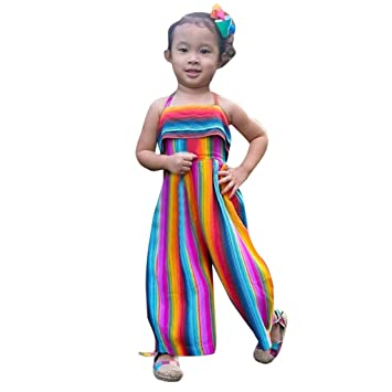 ec68ab58738cb Baby Clothes Sests,Toddler Baby Kids Girls Summer Rainbow Backless Romper  Jumpsuits Clothes Sunsuit