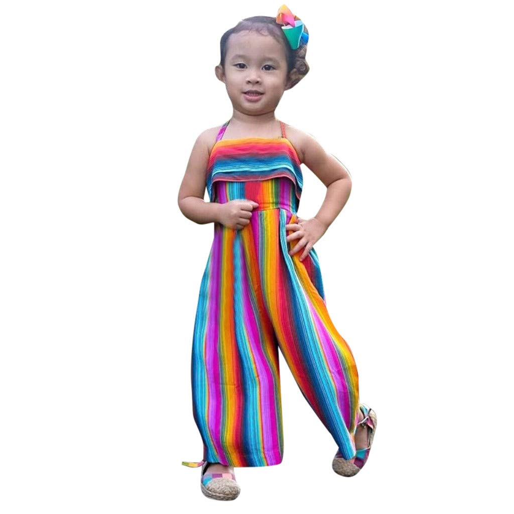 NUWFOR Toddler Baby Kids Girls Summer Rainbow Backless Romper Jumpsuits Clothes Sunsuit(Multicolor,4-5 Years)