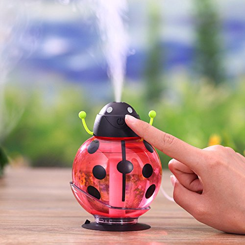 Ocamo 260ml USB Beetle Air Purify Ultrasonic Humidifier Aroma Aromatherapy Essential Oil Diffuser, Mini Portable Mist Humidifier LED Night Light Red ()