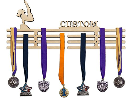 Arena Gifts Personalized Wooden Gymnastics Medal Hanger Display - Customize Your Own Medal Holder - Rack Idea for Gymnasts - Displays Up to 24 Medals or Ribbons