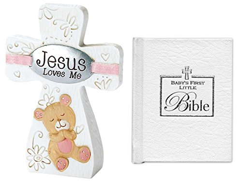 Mixed Gifts for Baby Girl for Christening and Baptism | Jesus Loves Me Tabletop Cross with Pink Trim and 3-Inch Babys First Bible ()