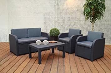 Chalet et jardin 12SAINTTROPEZ Salon Bas de Jardin PVC Gris ...