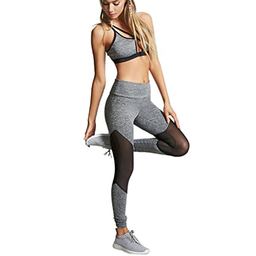 96a71fe608 HCFKJ Yoga Pants Mesh Panels For Women Petite Length Pants Girl High Waist  Leggings (S