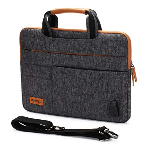 DOMISO 10.1 Inch Multi-Functional Laptop Sleeve Business Briefcase Messenger Bag with USB Charging Port for 10.1-10.5 Inch Laptop/Tablet/iPad Pro/iPad Air/Lenovo Yoga Book/Asus, Dark Grey